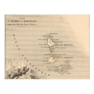 Karte 1858 von Iles St Pierre und von Miquelon,