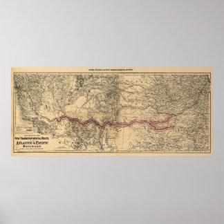 Karte der atlantischen u. pazifischen Eisenbahn, 1 Plakatdruck