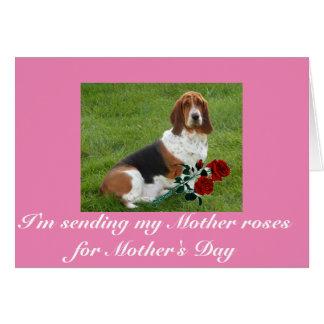Karte der Dachshund-Jagdhund-Mutter Tagesmit Rosen