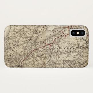 Karte der Erie-Eisenbahn (1869) iPhone X Hülle