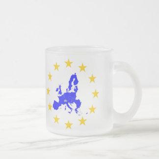 Karte der Europäischen Union mit Sternenkreis Mattglastasse
