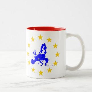 Karte der Europäischen Union mit Sternenkreis Zweifarbige Tasse