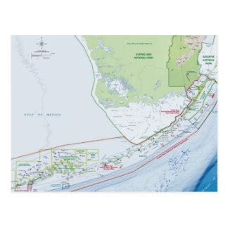 Karte der Florida-Schlüssel Postkarten