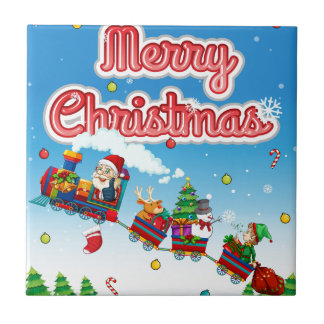 Karte der frohen Weihnachten mit Sankt auf Zug Fliese