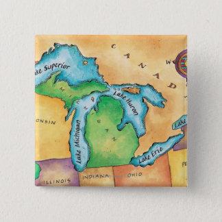 Karte der Great Lakes Quadratischer Button 5,1 Cm