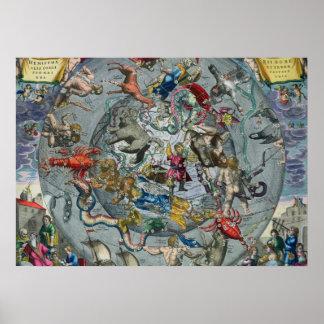 Karte der Konstellationen vom Nord Poster