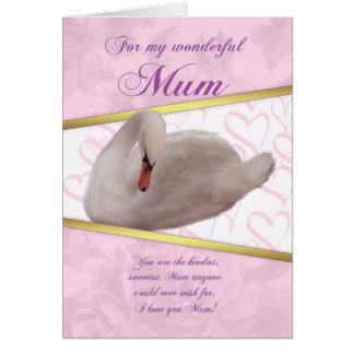 Karte der Mama-Mutter Tagesmit Schwan - Rosa