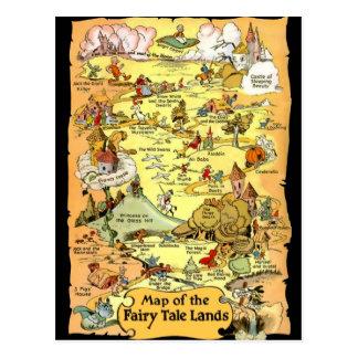 Karte der Märchen-Länder Postkarten