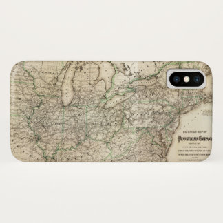 Karte der Pennsylvania-Eisenbahn (1871) iPhone X Hülle