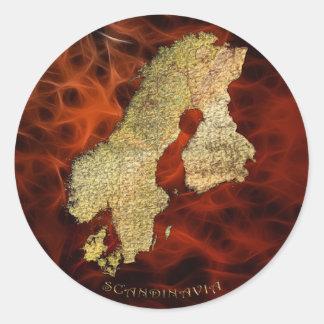Karte der SKANDINAVIEN-Aufkleber-Reihe Runder Aufkleber