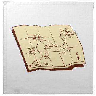 Karte der Spur mit X markiert den Serviette