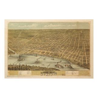 Karte der Stadt von Memphis Tennessee (1870) Holzleinwände