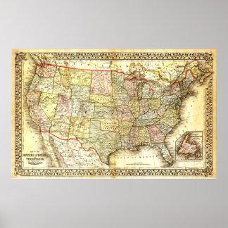 Karte der Vereinigten Staaten (19. Jahrhundert) Poster