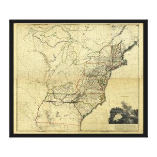 Karte der Vereinigten Staaten von Nordamerika Leinwanddruck