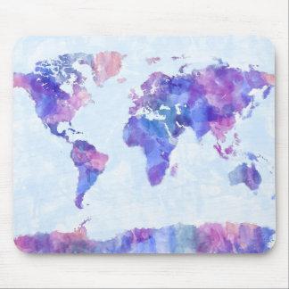 Karte der Weltkarte-Aquarell-Malerei Mauspad