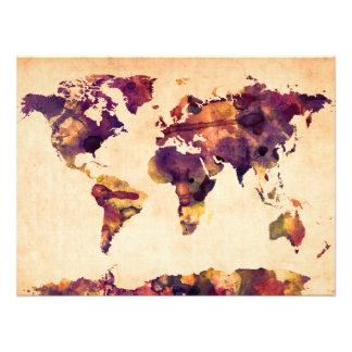 Karte der Weltkarte-Aquarell-Malerei Photodrucke