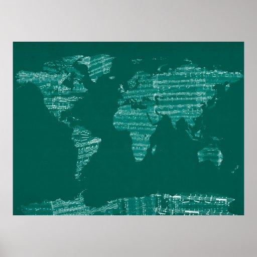 Karte der Weltkarte von den alten Noten Poster