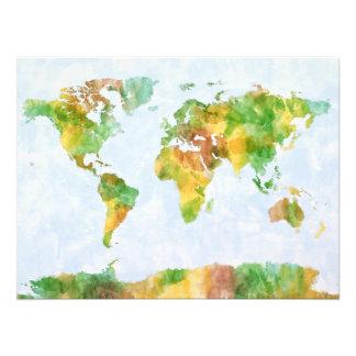 Karte der WeltWasserfarbe Foto Drucke