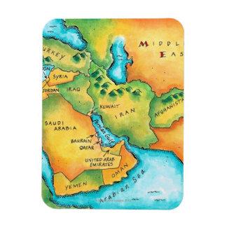 Karte des Mittlere Ostens Vinyl Magnet