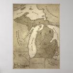 Karte des mythologischen Landes von Michigan Posterdrucke