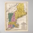 Karte des Neu-Englands oder der OstStaaten Poster