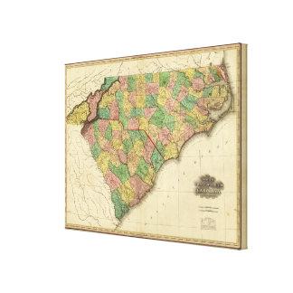 Karte des Nordens und des South Carolina Leinwand Drucke