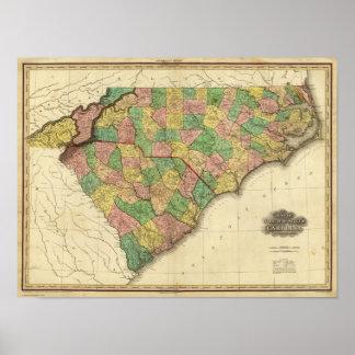Karte des Nordens und des South Carolina Poster