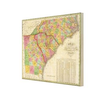 Karte des Nordens und des South Carolina und des G Gespannter Galeriedruck