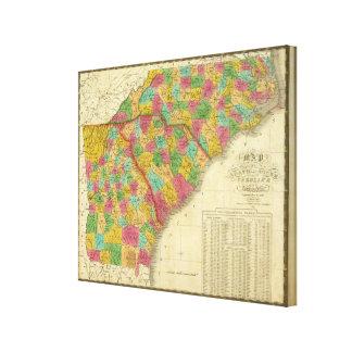 Karte des Nordens und des South Carolina und des G Leinwand Drucke