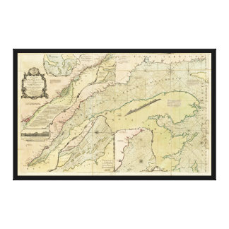 Karte des Sankt-Lorenz-Stroms (1771) Leinwanddruck