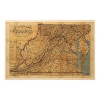 Karte des Staat von Virginia (1863) Holzdrucke