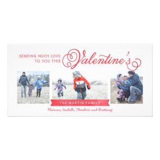 Karte des Valentinstag-3-Foto Photokartenvorlage