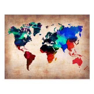 Karte des Watercolor alte Weltniedlich
