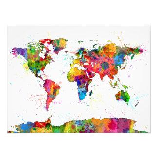 Karte des Weltkarte-Aquarells Fotografischer Druck