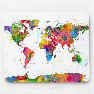 Karte des Weltkarte-Aquarells Mauspads