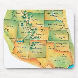 Karte des Westerns Vereinigte Staaten Mousepad