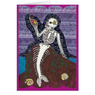 Karte Dia de Los Muertos Mermaid