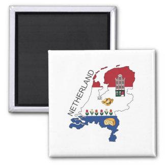 Karte und Flagge der Niederlande Quadratischer Magnet