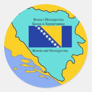 Karte und Flagge von Bosnien-Herzegowina Aufkleber