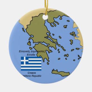 Karte und Flagge von Griechenland-Verzierung Keramik Ornament