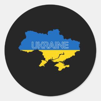 Karte und Flagge von Ukraine Runder Aufkleber