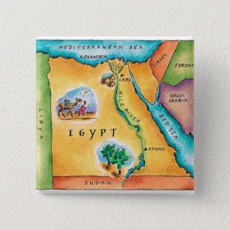 Karte von Ägypten Quadratischer Button 5,1 Cm