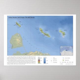 Karte von Aruba-, Bonaire- und Curaçao-1:500,000 Poster