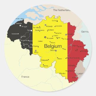 Karte von Belgien-Aufklebern Runder Aufkleber