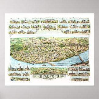 Karte von Bradford Massachusetts im Jahre 1892 Poster