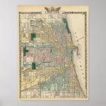 Karte von Chicago-Stadt Posterdruck