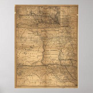 Karte von Dakota-Gebiet (1. November 1882) Poster