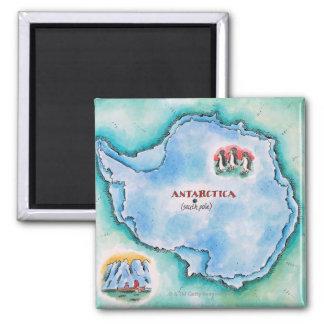 Karte von der Antarktis Quadratischer Magnet