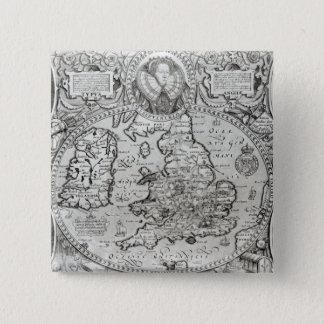 Karte von England während der Herrschaft von Quadratischer Button 5,1 Cm