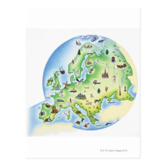 Karte von Europa mit Illustrationen von berühmtem